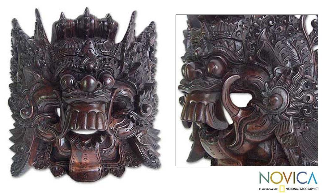 Sono Wood 'Black Rangda' Mask (Indonesia)