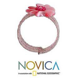 Stainless Steel 'Sweetheart Blossom' Beaded Wrap Bracelet (Thailand)