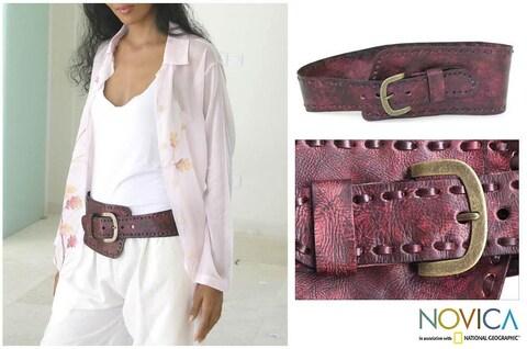 Handmade Leather 'Red Phenomena' Belt (Indonesia)