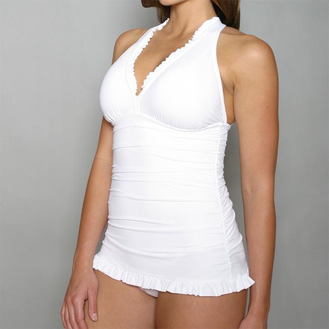 Jantzen Women's White 2-piece Halter Top Bikini