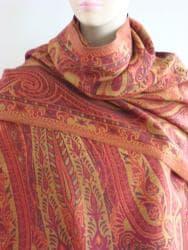 Selection Privee 'Jade' Fuschia Paisley Wool Shawl - Thumbnail 1