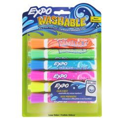 Expo Washable Bullet Tip Dry Erase Colored Markers (Pack of 6)