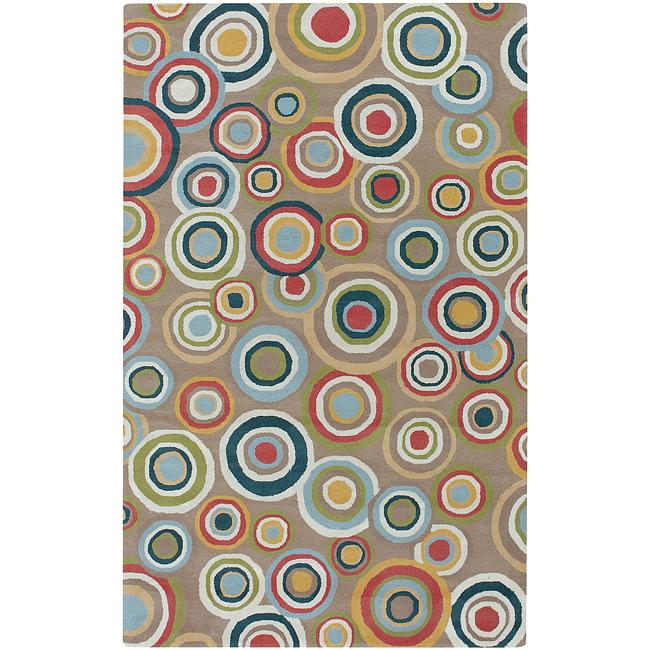 Hand-tufted Contemporary Multi Colored Circles Geometric Corbett New Zealand Wool Rug (5' x 8')