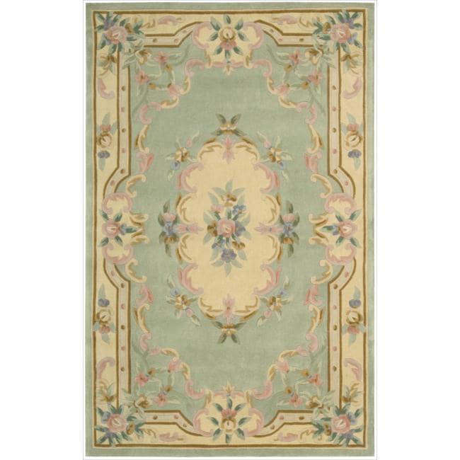 Nourison Hand-tufted Sage Floral Wool Rug (4'9 x 7'6)