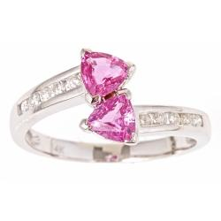D'Yach 14k White Gold Pink Sapphire and 1/5ct TDW Diamond Ring (G-H, I1-I2)