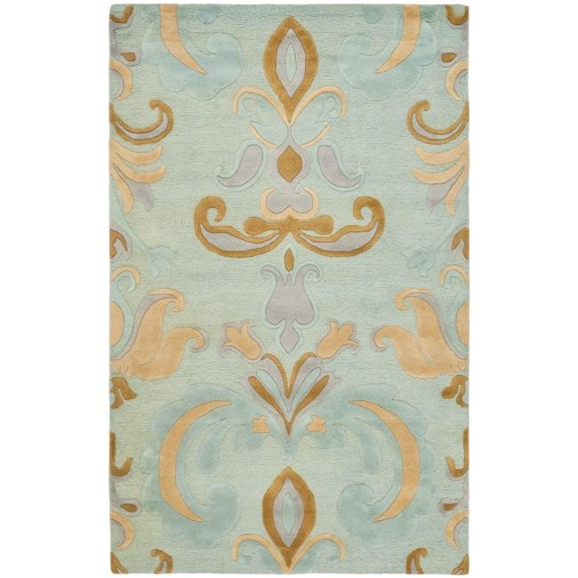Safavieh Handmade Soho Passage Light Blue New Zealand Wool Rug (5'x 8')