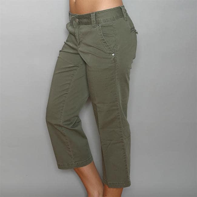 Calvin Klein Women's Camo Green Stretch Capri Pants - Free ...