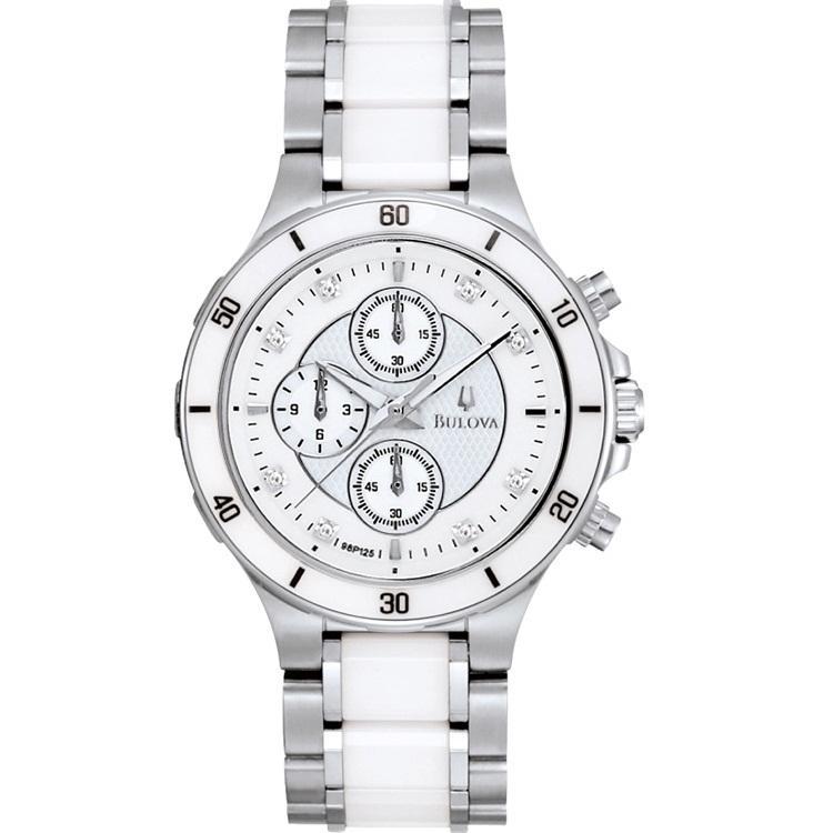 Bulova Women's Ceramic and Stainless Steel Chronograph Watch