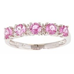 D'Yach 14k White Gold Pink Sapphire and Diamond Accent Ring (G-H) (I1-I2)