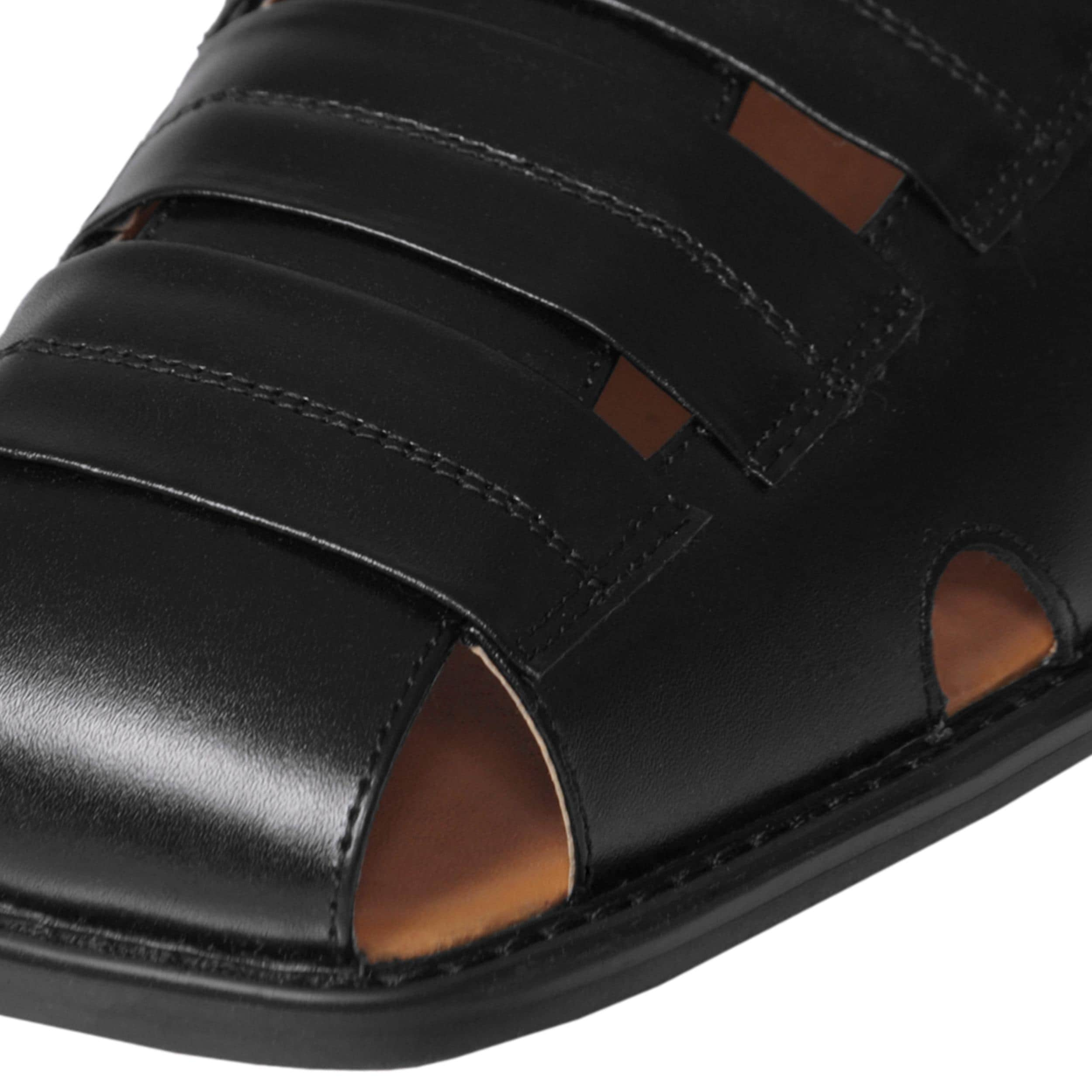 Boston Traveler Men's Genuine Leather Square Toe Sandals - Thumbnail 2
