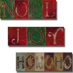 Patricia Pinto 'Noel, Joy and HoHoHo' 3-piece Canvas Art Set