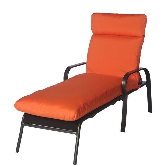 sara outdoor bright orange chaise lounge chair cushion made with sunbrella free shipping today. Black Bedroom Furniture Sets. Home Design Ideas