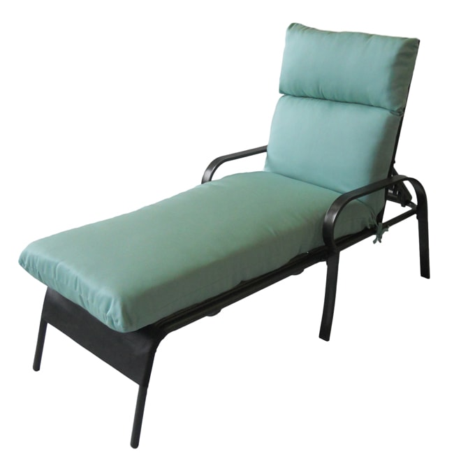 Olie outdoor chaise lounge chair cushion in textured woven for Aqua chaise lounge cushions