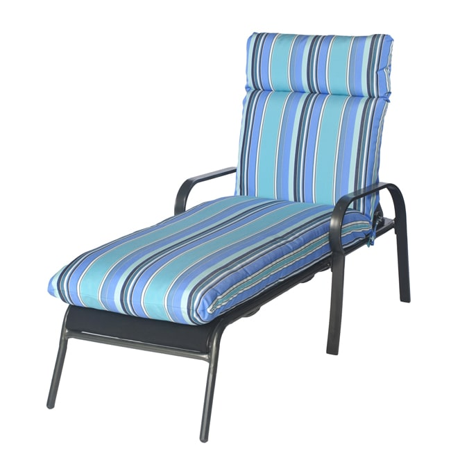 Satra outdoor chaise lounge chair cushion in multi stripe for Blue and white striped chaise lounge cushions
