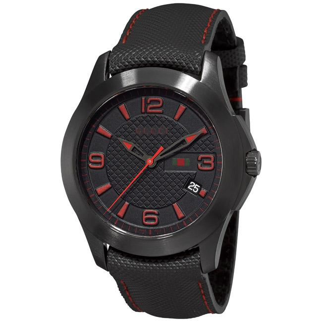 Gucci Men's 'G-Timeless' Leather Strap Black PVD Watch