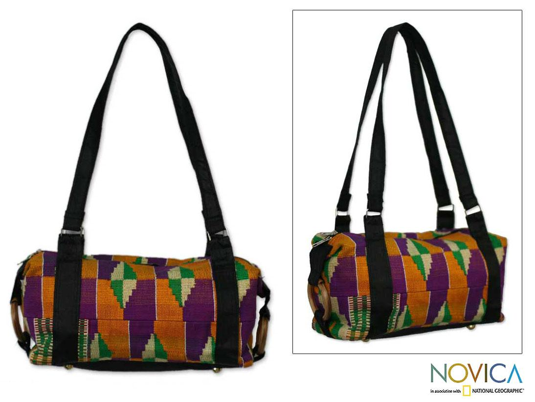 Cotton 'Ashanti Labyrinth' Medium Kente Shoulder Bag (Ghana)