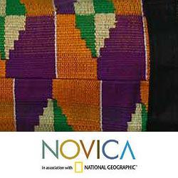 Cotton 'Ashanti Labyrinth' Medium Kente Shoulder Bag (Ghana) - Thumbnail 2