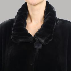 Nuage Women's Beaver Faux Fur Oversize Short Coat
