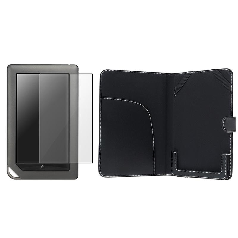 Black Leather Case w/ Screen Protector for Barnes & Noble Nook Color