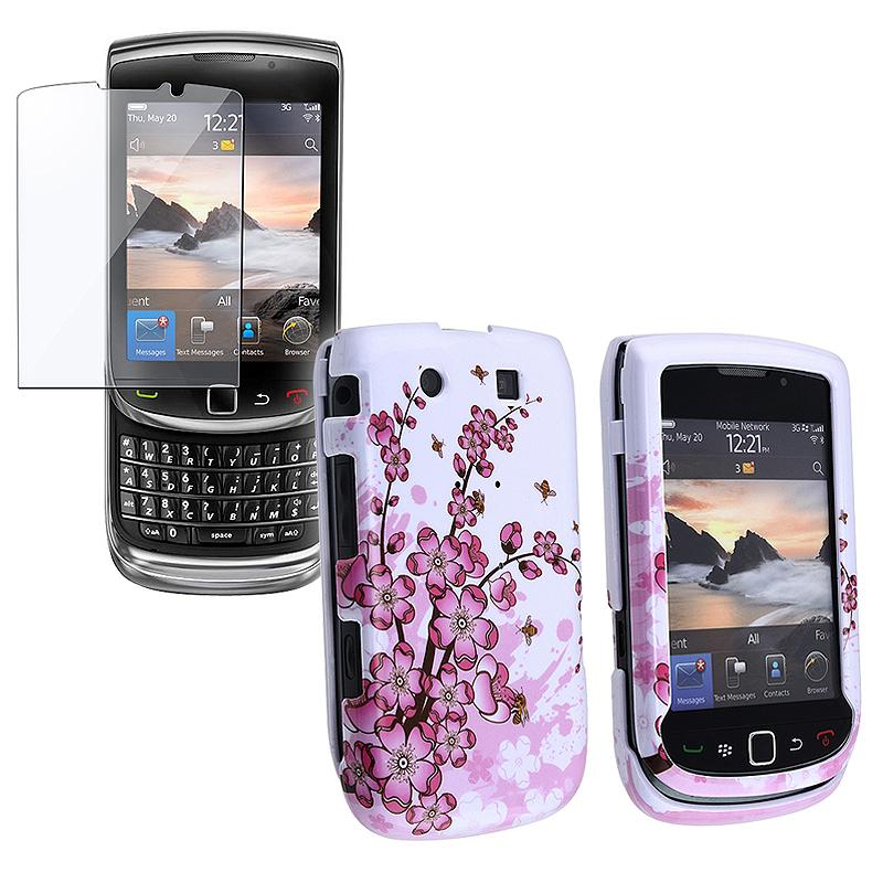 Flower Case w/ Screen Protector for Blackberry 9800