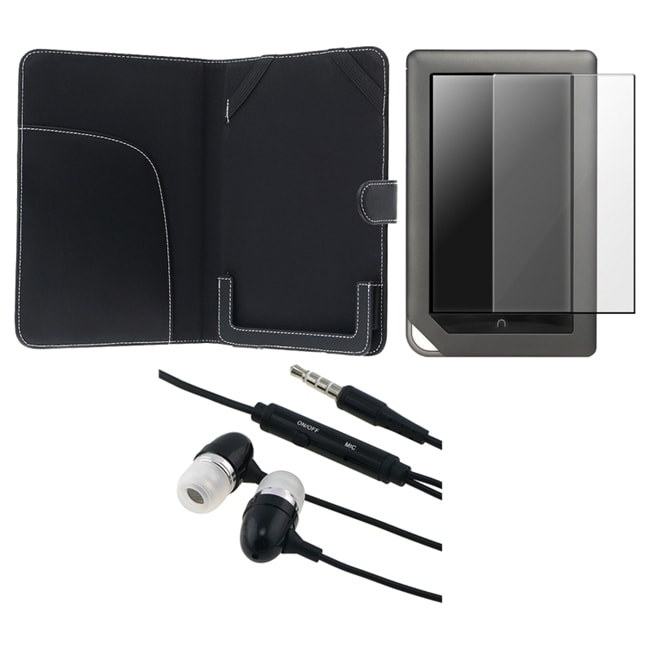 3-piece Leather Case/ Headset/ Protector for Barnes & Noble Nook Color