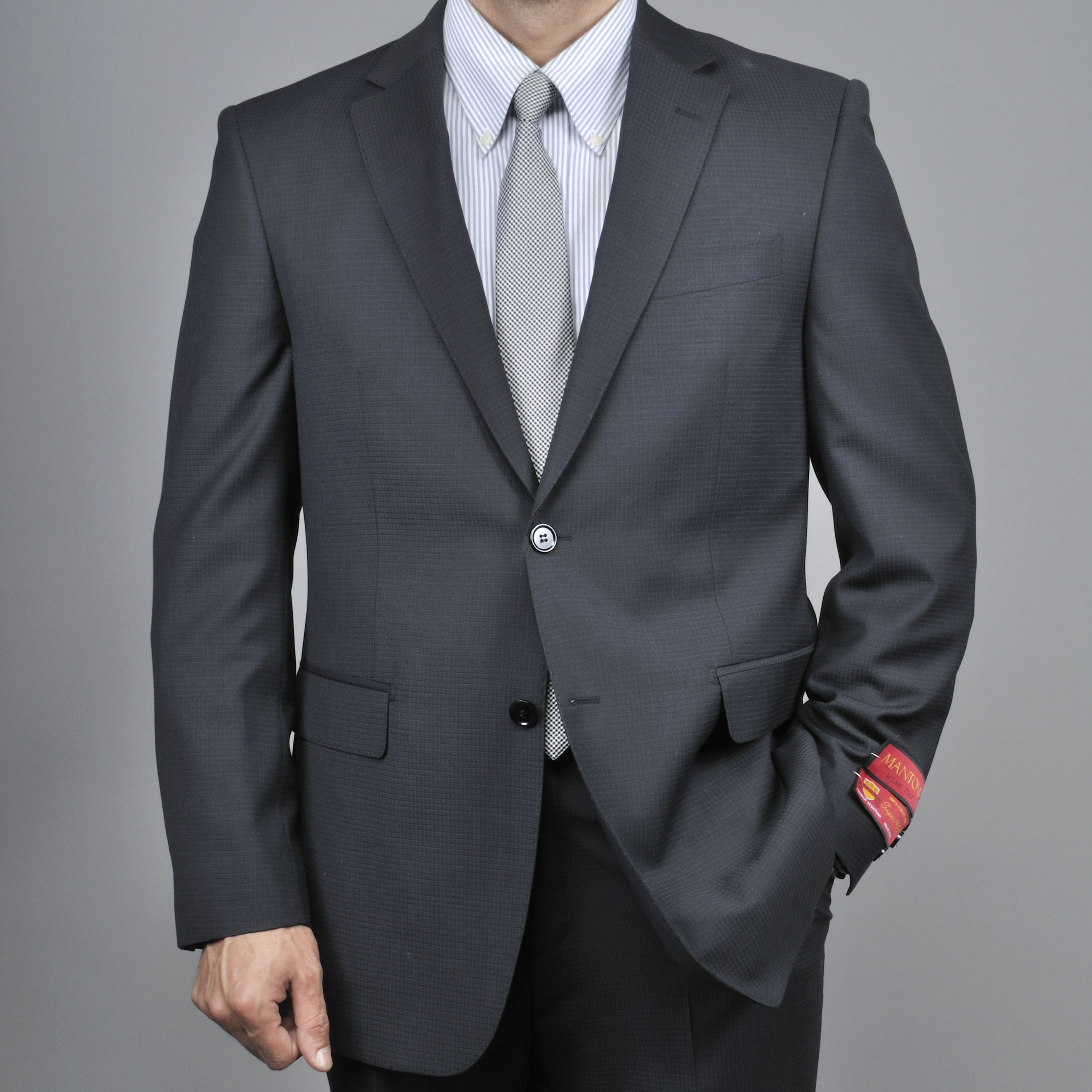 Black Small Waffle Weave 2-Button Wool Suit