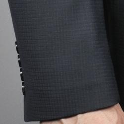 Black Small Waffle Weave 2-Button Wool Suit - Thumbnail 1