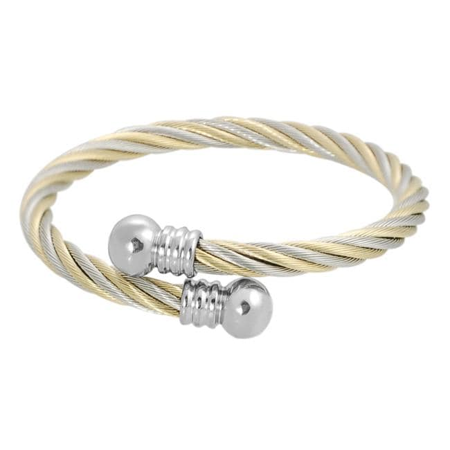 Goldtone Stainless Steel Twisted Wire Cuff Bracelet