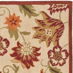 Safavieh Handmade Blossom Paisley Beige Wool Rug (6' Square) - Thumbnail 1