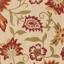Safavieh Handmade Blossom Paisley Beige Wool Rug (6' Square) - Thumbnail 2