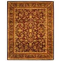 Safavieh Handmade Exquisite Wine/ Gold Wool Rug (12' x 18')