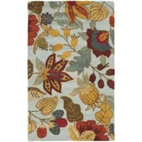 Safavieh Handmade Blossom Floral Light Blue Wool Rug - 2'6 x 4'