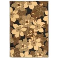 """Safavieh Courtyard Flowers Black/ Natural Indoor/ Outdoor Rug - 5'-3"""" X 7'-7"""""""