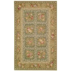 Safavieh Handmade Bouquet Tiles Green/ Sand Wool and Silk Rug (9' x 12')