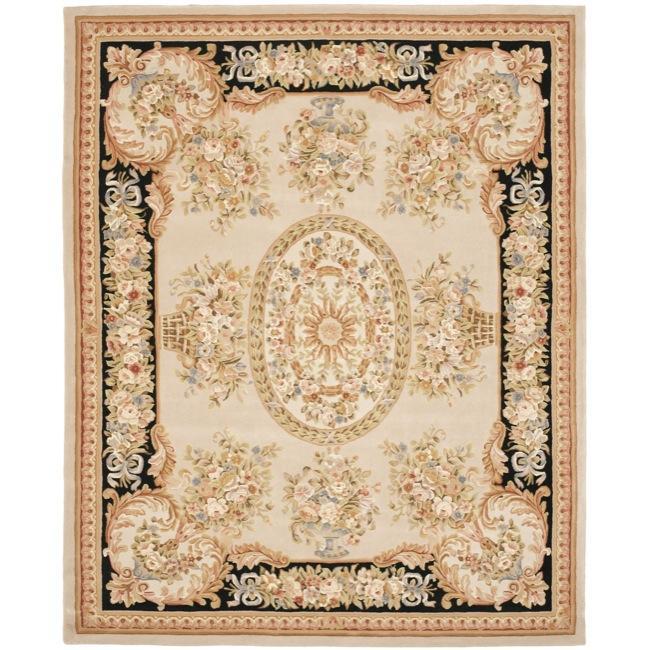 Safavieh Handmade Grand Bouquet Beige/ Black Wool and Silk Rug (5' x 8')