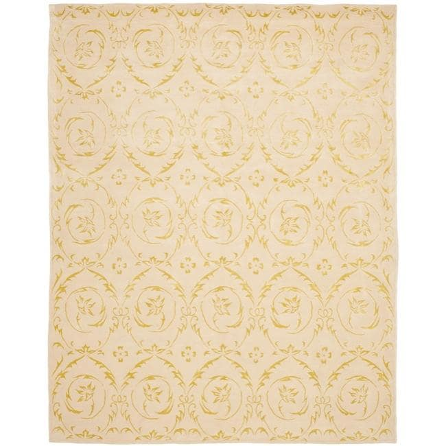 Safavieh Handmade Zen Bouquet Beige Wool and Silk Rug (6' x 9')