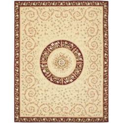 Safavieh Handmade Bouquet Beige/ Dark Red Wool and Silk Rug (6' x 9')