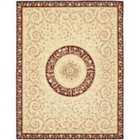 Safavieh Handmade Bouquet Beige/ Dark Red Wool and Silk Rug - 6' x 9'