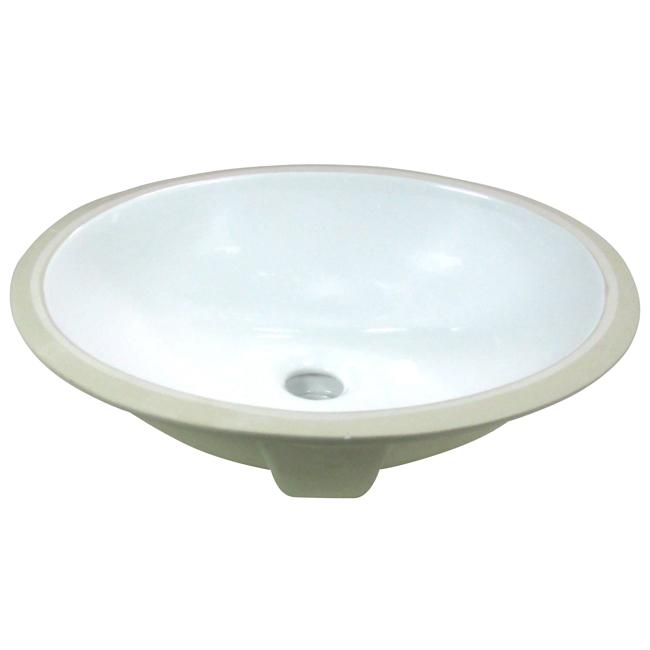 Denovo Small Oval 15x12 Inch White Porcelain Undermount Bathroom Sink