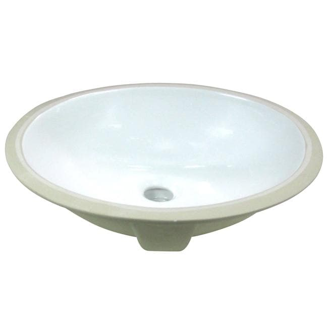 White Undermount Sink : DeNovo Small Oval 15x12-inch White Porcelain Undermount Bathroom Sink ...