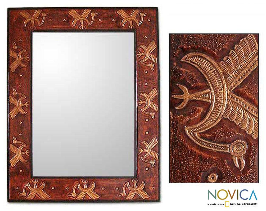 Handcrafted Leather 'Dancing Cranes' Mirror (Peru)