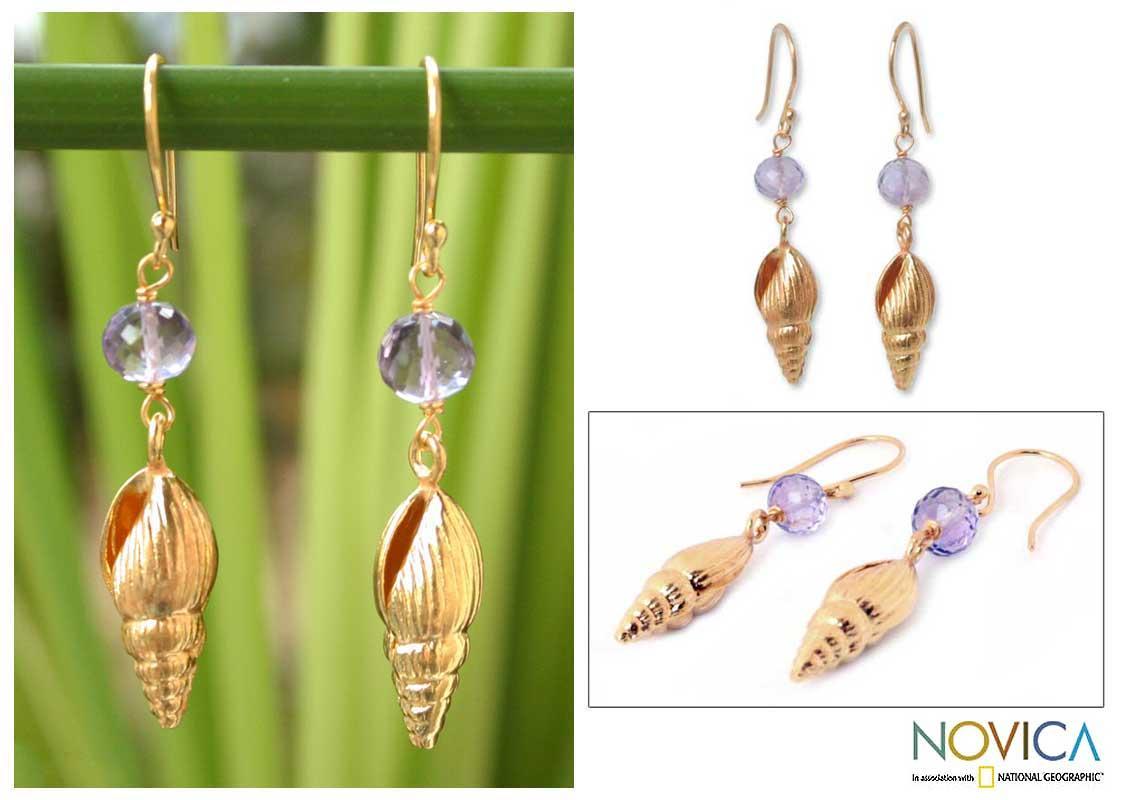 Gold Vermeil 'Seashell' Amethyst Earrings (Thailand)