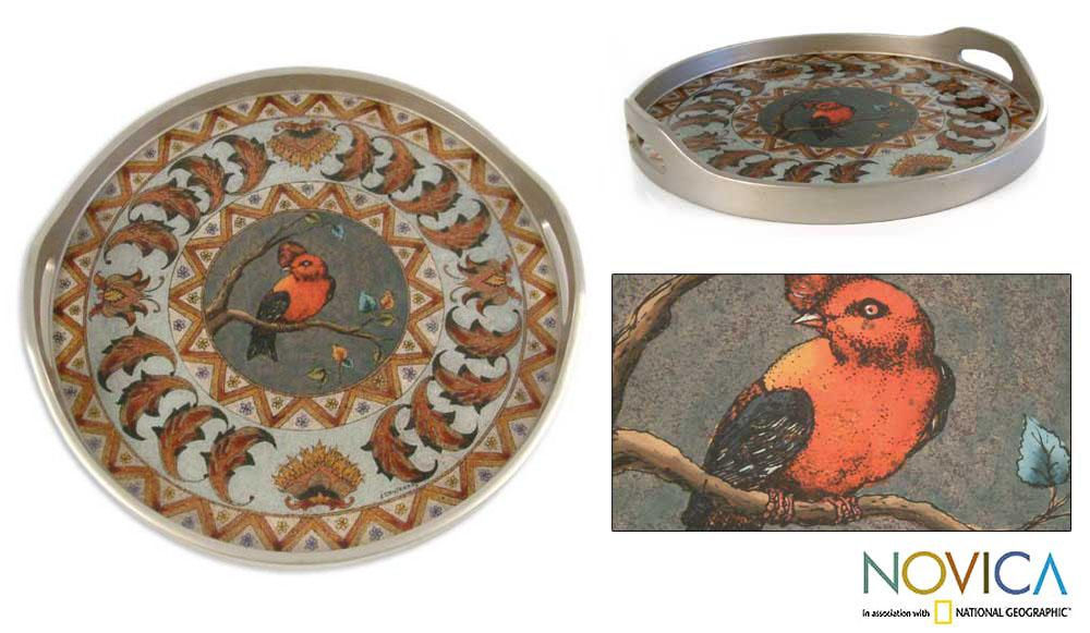 Handmade Painted Glass 'Bird in Winter' Tray (Peru)