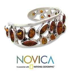 Sterling Silver 'Summer Sun' Amber Cuff Bracelet (India)