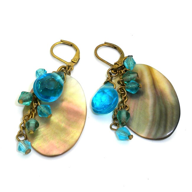 Brass Mother of Pearl and Sea Blue Bead Earrings (India)