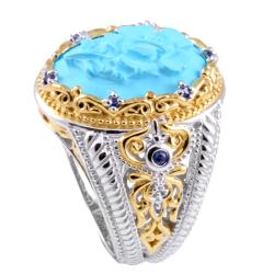 Michael Valitutti Two-tone Turquoise Cameo and Blue Sapphire Ring