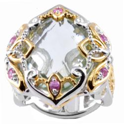 Michael Valitutti Two-tone Green Amethyst and Pink Sapphire Ring