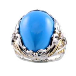 Michael Valitutti Two-tone Blue Turquoise and White Sapphire Ring