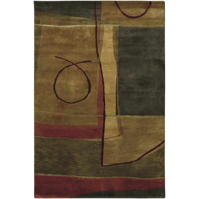 Hand-knotted Brown/Red Floral Contemporary Charlotte Semi-worsted New Zealand Wool Abstract Area Rug - 8' x 10'