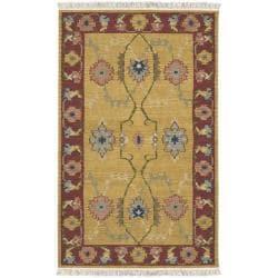 Hand-woven Yellow/Red Southwestern Cheyenne New Zealand Wool Rug (9' x 13')